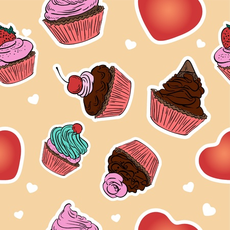 Seamless cupcake pattern  Hand drawn background  Vector
