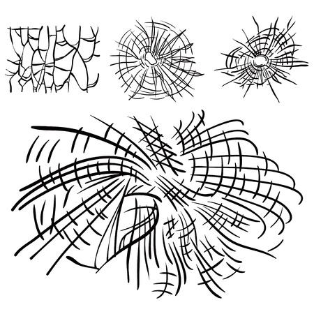 Set of four broken glass for design Stock Vector - 17715697