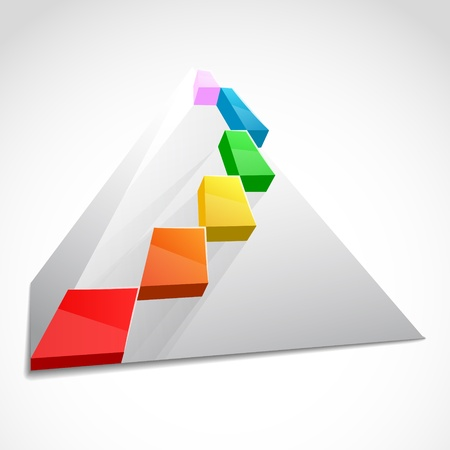 hierarchy chart: Color layered pyramid  Business concept Illustration