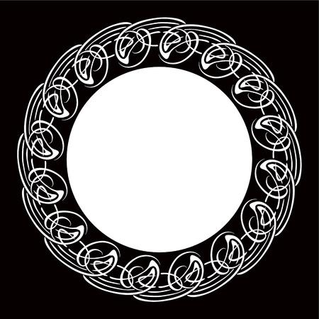 Black and white ornamental round frame