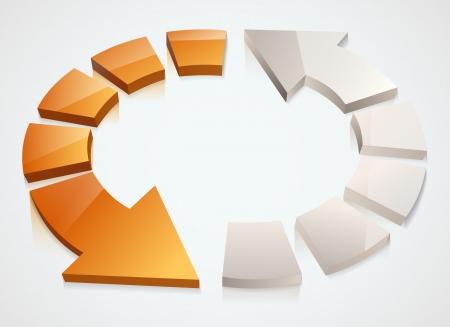 flechas curvas: Dos flechas de color naranja y plata de reciclaje