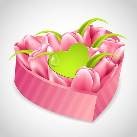 birthday wishes: Tulips bouquet in a heart box