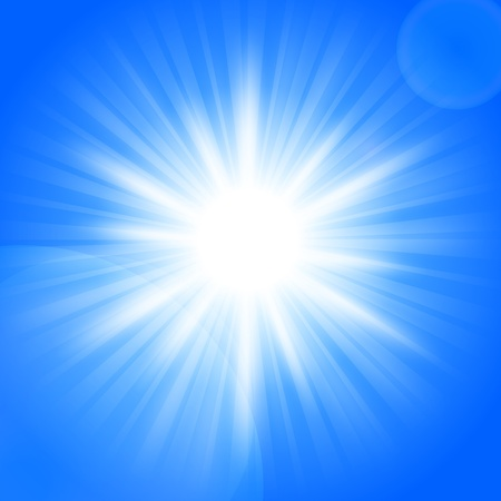 Sun on blue sky with lenses flare Stock Vector - 18198672