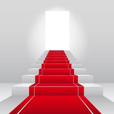 Escaleras con alfombra de terciopelo rojo