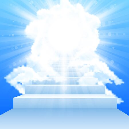 Stairway leading to heaven with clouds in sky photo