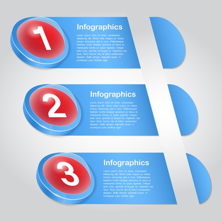 One two three - progress icons for three  steps Vector