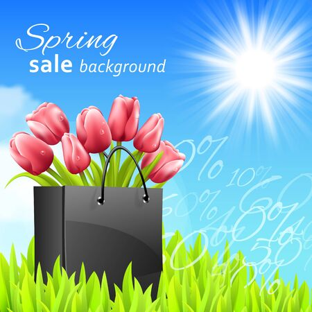 lady shopping: Sprin sale background with tulips