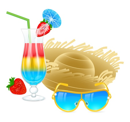 Cold cocktail with sunglasses, hat and strawberry Vector