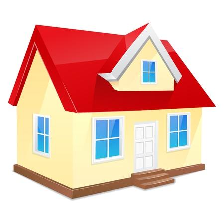 fachada de casa: Peque�a casa con techo rojo aislado en un blanco