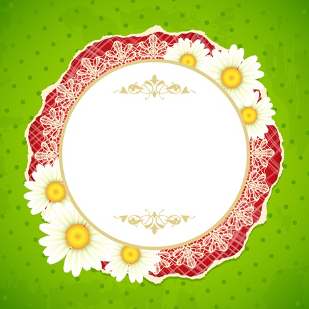 Lacy frame for text decorated with camomiles Stock Vector - 18516274