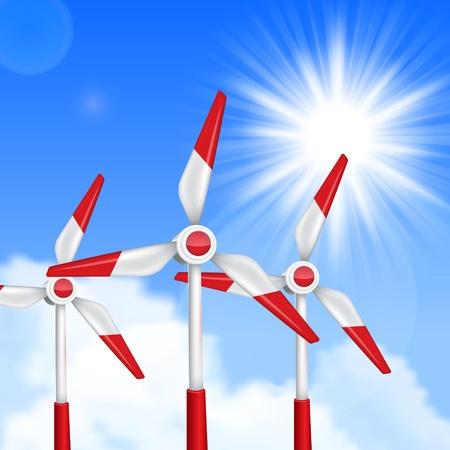 generators: Wind driven generators, turbines over blue sky