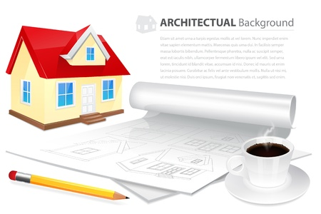House wuth plan drawing, cup of coffee and pensil Stock Vector - 18516234