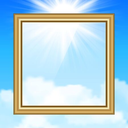 Hanging Picture on blue sky background Stock Vector - 18516280