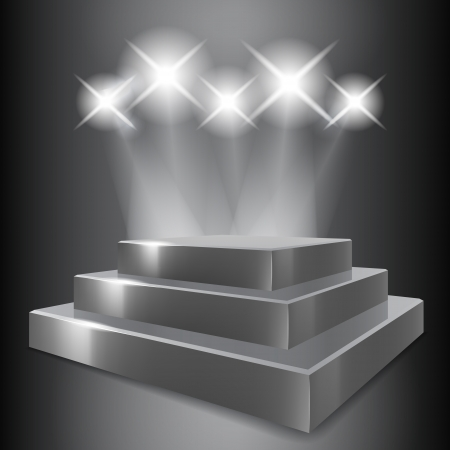 Gray podium with spotlights Stock Vector - 19020404