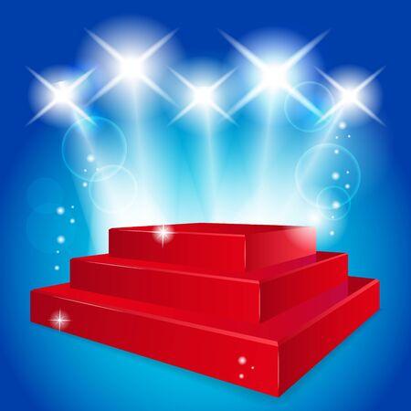 Empty red  podium illuminated lights Ilustracja