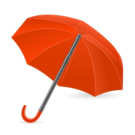 represented: The red umbrella represented on a white background