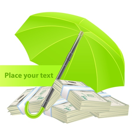 Protection concept with umbrella and money Stock Vector - 19020411