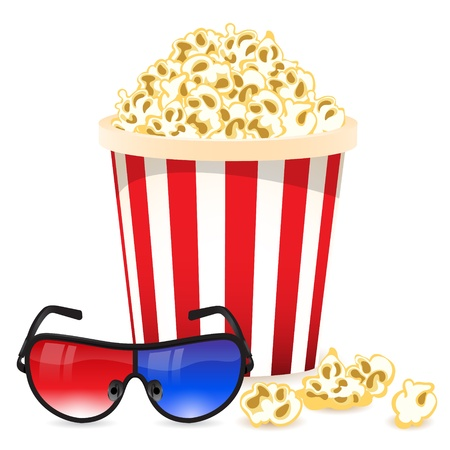 Cinema background with 3D glasses and popcorn Stock Vector - 19020410