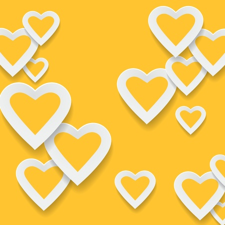 Paper yellow hearts background Stock Photo - 20871763