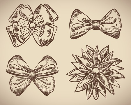 Set of bow doodle photo
