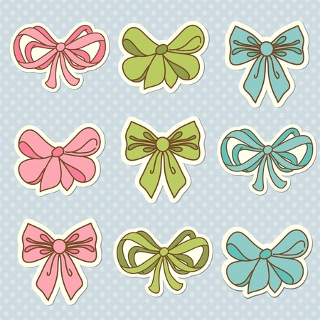 Doodle colored bow icons photo
