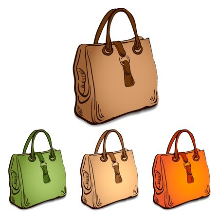 Vector illustration, sketch imitating bags with markers Vector