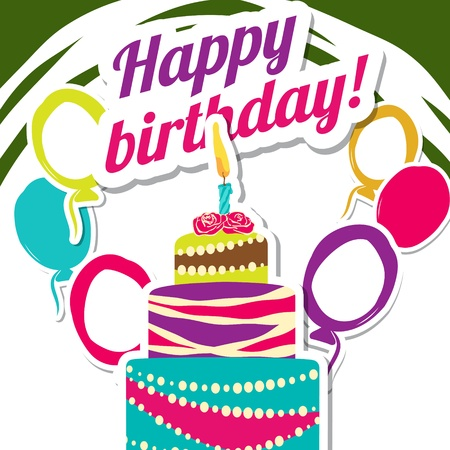 Vector picture with birthday cake Stock Photo - 21528761