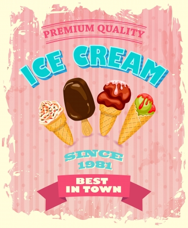 Vintage ICE CREAM poster design photo
