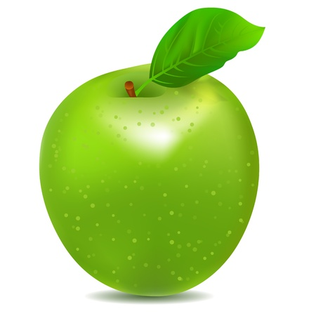 leaf water drop: Detailed icon of big shiny green apple Illustration