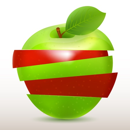 green apple isolated: Sliced red and green apple isolated on white