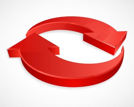 Two circular arrows 3D logos