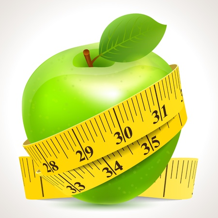 tape measure: Green apple with yellow measuring tape