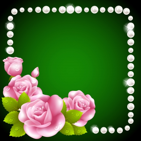 pearls and threads: Pink rose and pearls frame Illustration