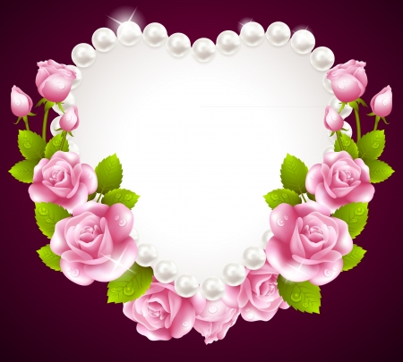 Hqert pink rose and pearls frame Vector