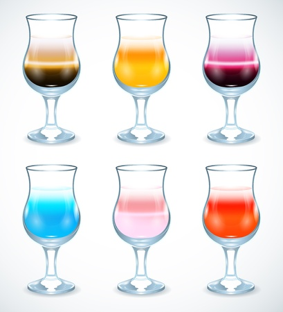 Collection of alcohol coctails Vector