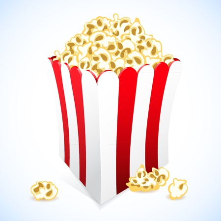 Icon popcorn in red and white cardboard box for cinema Vector