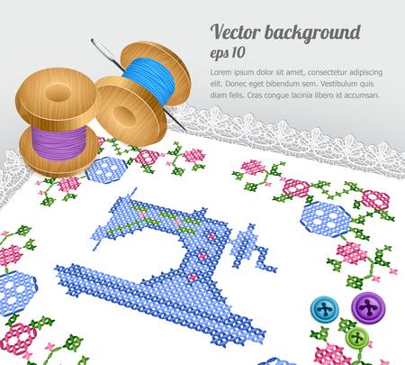 homespun: Coser a m�quina  cross Retro costura Vectores
