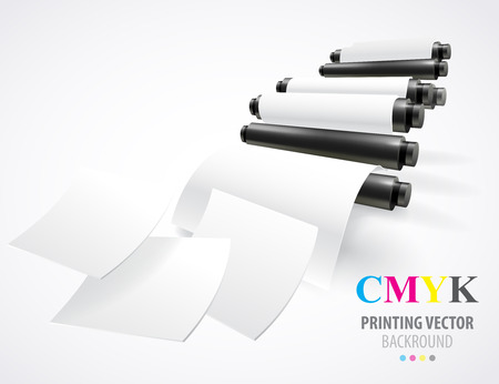 commerce and industry: Printing machine Illustration