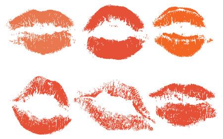 Los labios rojos, sello aislado sobre fondo blanco