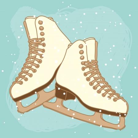 Vector postcard design with ice skates Vector