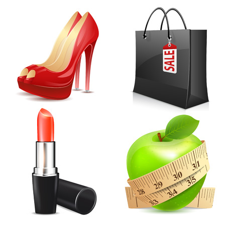 red lip: Set of ladys accessories, icons vector