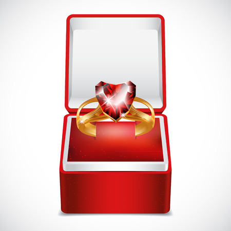 Gold ring with pink heart gemstone in Red Velvet Box.