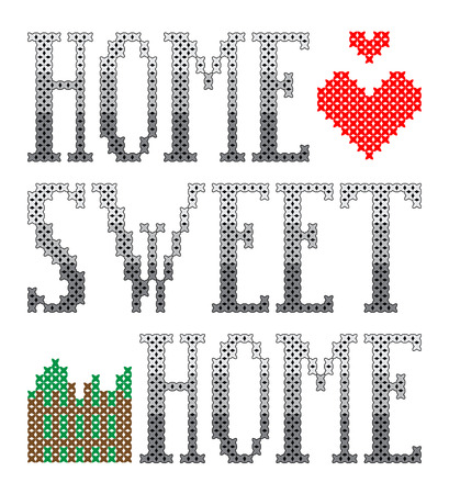 Home sweet home embroidery Vector