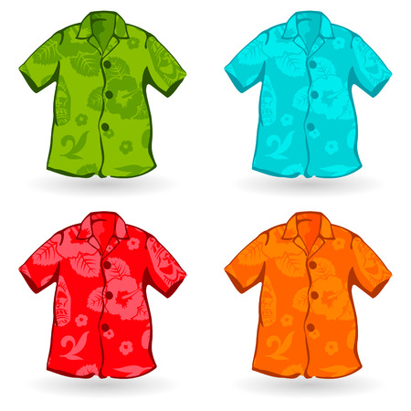 Illustration of a four of Aloha Shirts. Can also be customized with aloha pattern. Illustration