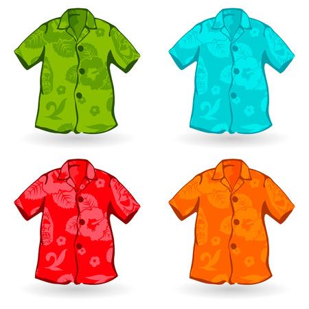 Ilustraci�n de un cuatro de Aloha Shirts. Tambi�n puede ser personalizada con el patr�n de la hawaiana.