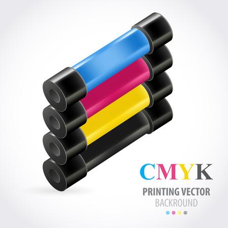 prepress: cmyk print colored roll
