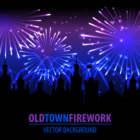 Fireworks lighting up the sky behind town houses. Illustration