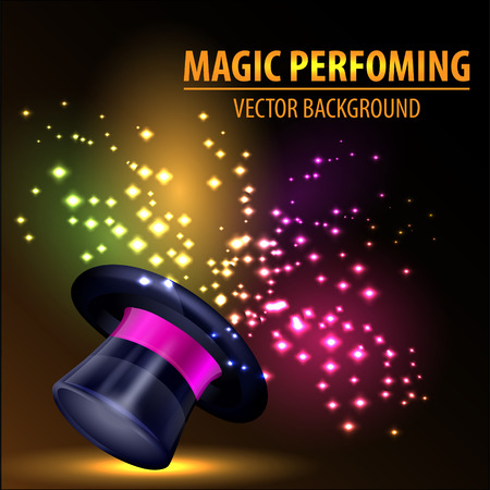 fondo de circo: Resumen sombrero mágico Antecedentes Vectores