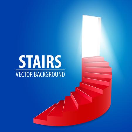 red spiral round stairway Vector