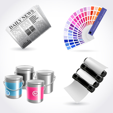 print shop: Vector print shop icon set Illustration